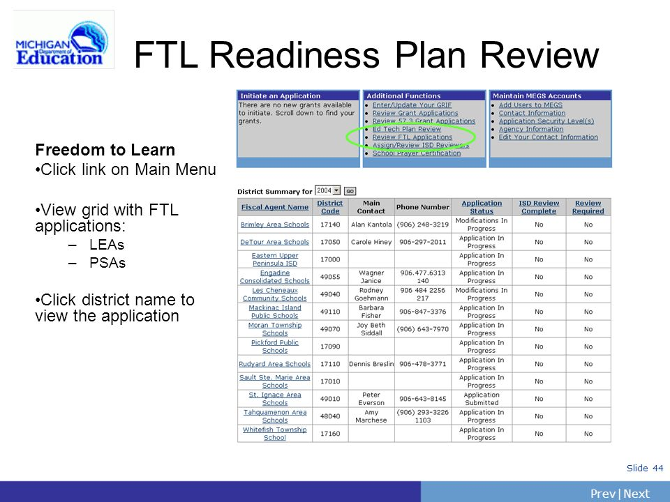 PrevNext | Slide 44 Freedom to Learn Click link on Main Menu View grid with FTL applications: –LEAs –PSAs Click district name to view the application FTL Readiness Plan Review