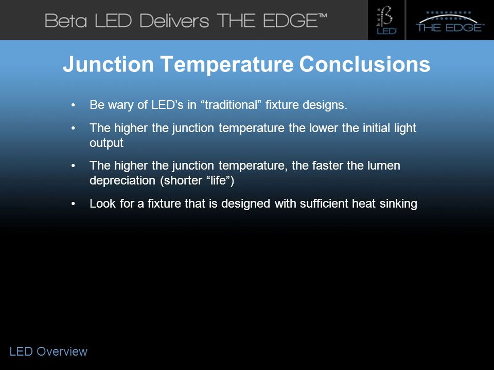 #title# Junction Temperature Conclusions Be wary of LEDs in traditional fixture designs.