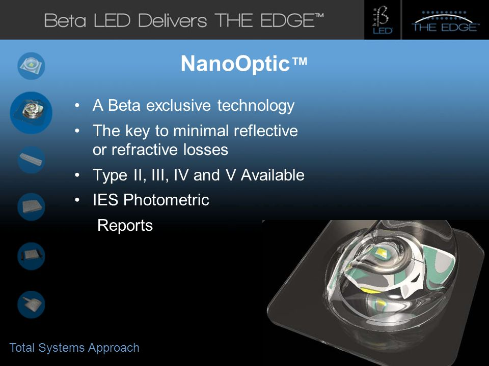 #title# NanoOptic A Beta exclusive technology The key to minimal reflective or refractive losses Type II, III, IV and V Available IES Photometric Reports Total Systems Approach