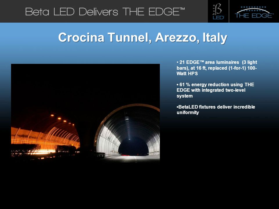 #title# Beta LED Application Photos Crocina Tunnel, Arezzo, Italy 21 EDGE area luminaires (3 light bars), at 16 ft, replaced (1-for-1) 100- Watt HPS 61 % energy reduction using THE EDGE with integrated two-level system BetaLED fixtures deliver incredible uniformity.
