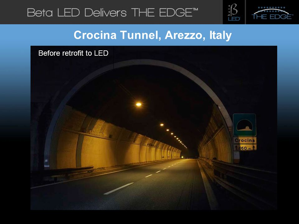 #title# Beta LED Application Photos Crocina Tunnel, Arezzo, Italy Before retrofit to LED