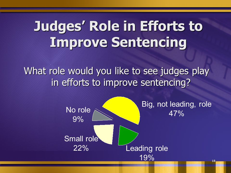 18 Judges Role in Efforts to Improve Sentencing What role would you like to see judges play in efforts to improve sentencing.