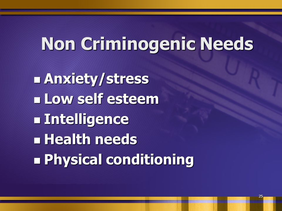 25 Non Criminogenic Needs Anxiety/stress Anxiety/stress Low self esteem Low self esteem Intelligence Intelligence Health needs Health needs Physical conditioning Physical conditioning