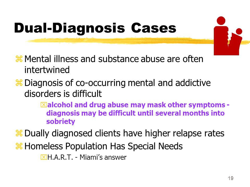 19 Dual-Diagnosis Cases zMental illness and substance abuse are often intertwined zDiagnosis of co-occurring mental and addictive disorders is difficult xalcohol and drug abuse may mask other symptoms - diagnosis may be difficult until several months into sobriety zDually diagnosed clients have higher relapse rates zHomeless Population Has Special Needs xH.A.R.T.