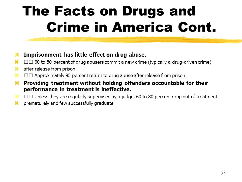 The Facts on Drugs and Crime in America Cont. zImprisonment has little effect on drug abuse.