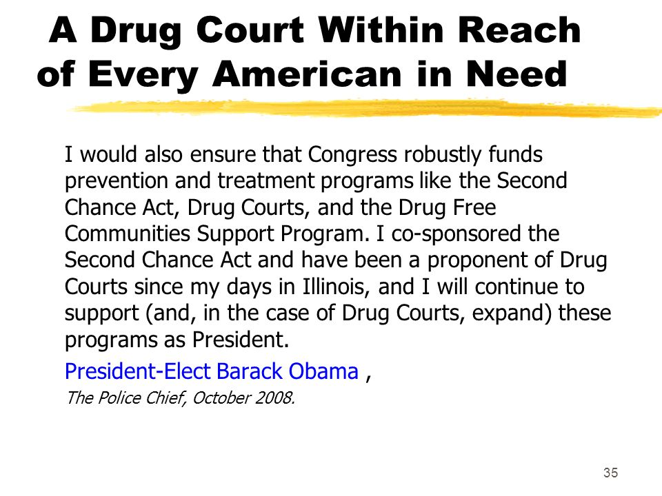 A Drug Court Within Reach of Every American in Need I would also ensure that Congress robustly funds prevention and treatment programs like the Second Chance Act, Drug Courts, and the Drug Free Communities Support Program.
