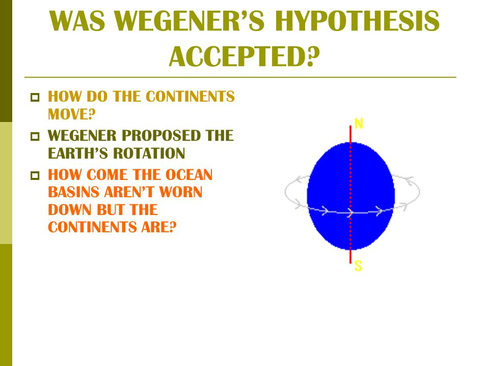 WAS WEGENERS HYPOTHESIS ACCEPTED. HOW DO THE CONTINENTS MOVE.