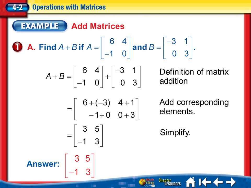 Lesson 2 Ex1 Add Matrices Definition of matrix addition Add corresponding elements.