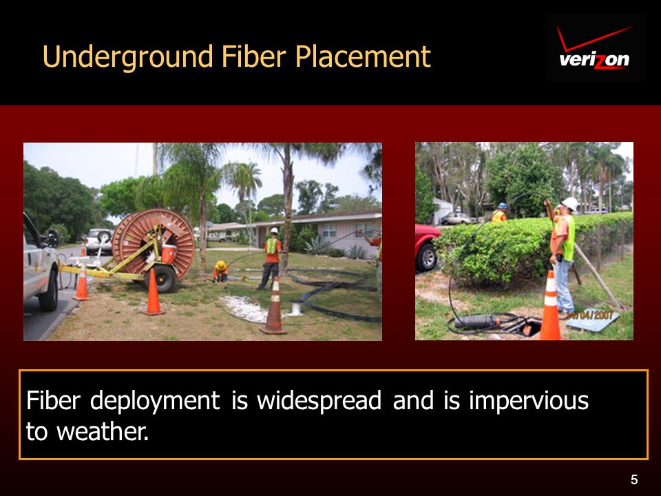 5 Underground Fiber Placement Fiber deployment is widespread and is impervious to weather.