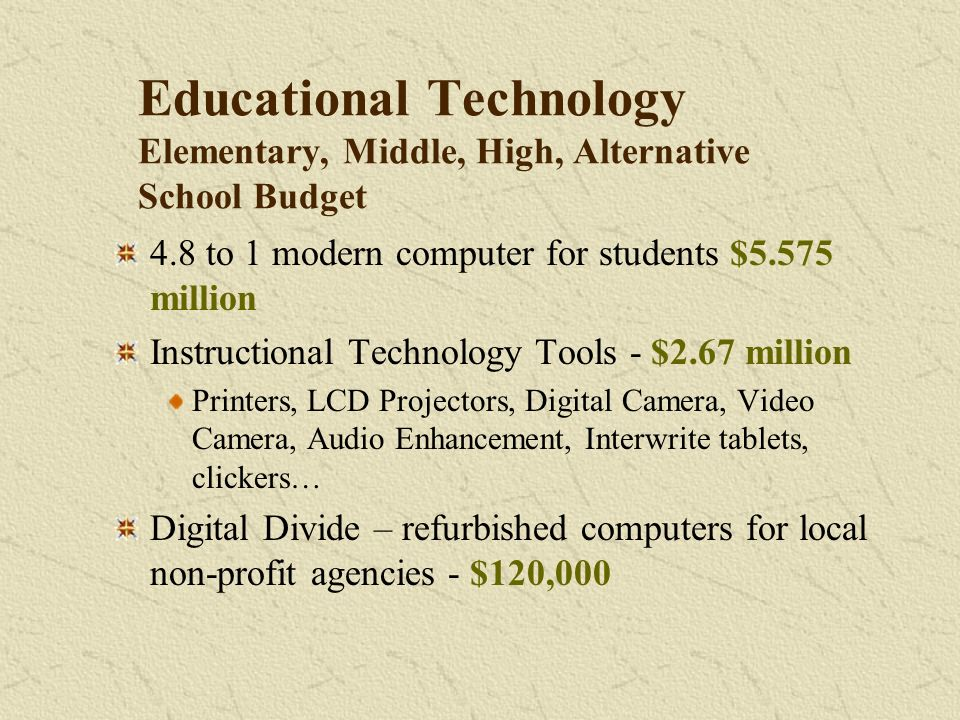 Educational Technology Elementary, Middle, High, Alternative School Budget 4.8 to 1 modern computer for students $5.575 million Instructional Technology Tools - $2.67 million Printers, LCD Projectors, Digital Camera, Video Camera, Audio Enhancement, Interwrite tablets, clickers… Digital Divide – refurbished computers for local non-profit agencies - $120,000