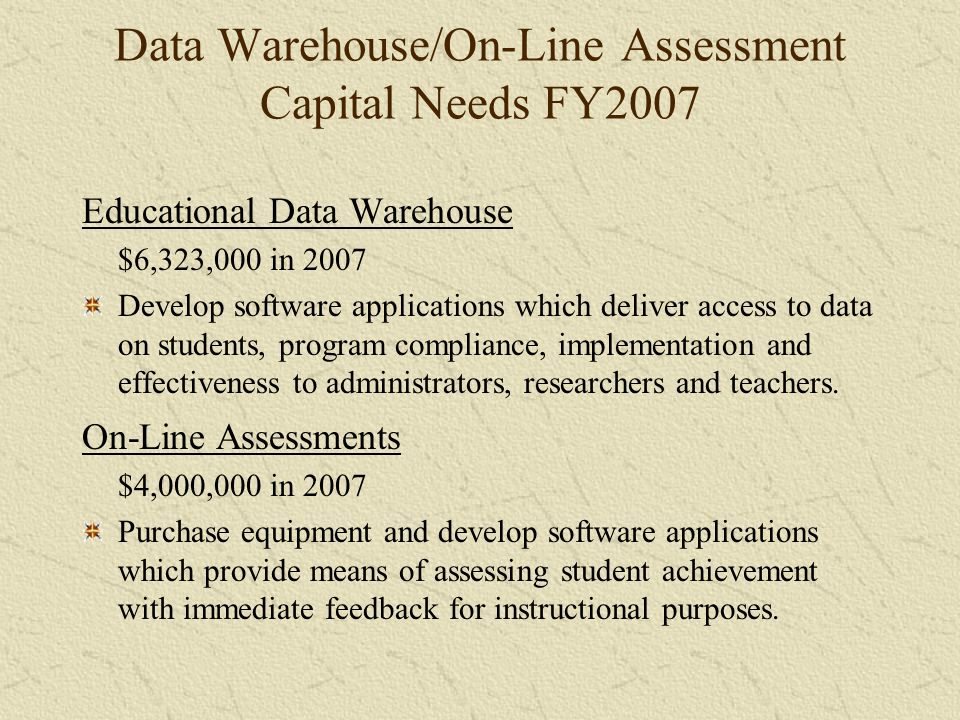 Data Warehouse/On-Line Assessment Capital Needs FY2007 Educational Data Warehouse $6,323,000 in 2007 Develop software applications which deliver access to data on students, program compliance, implementation and effectiveness to administrators, researchers and teachers.