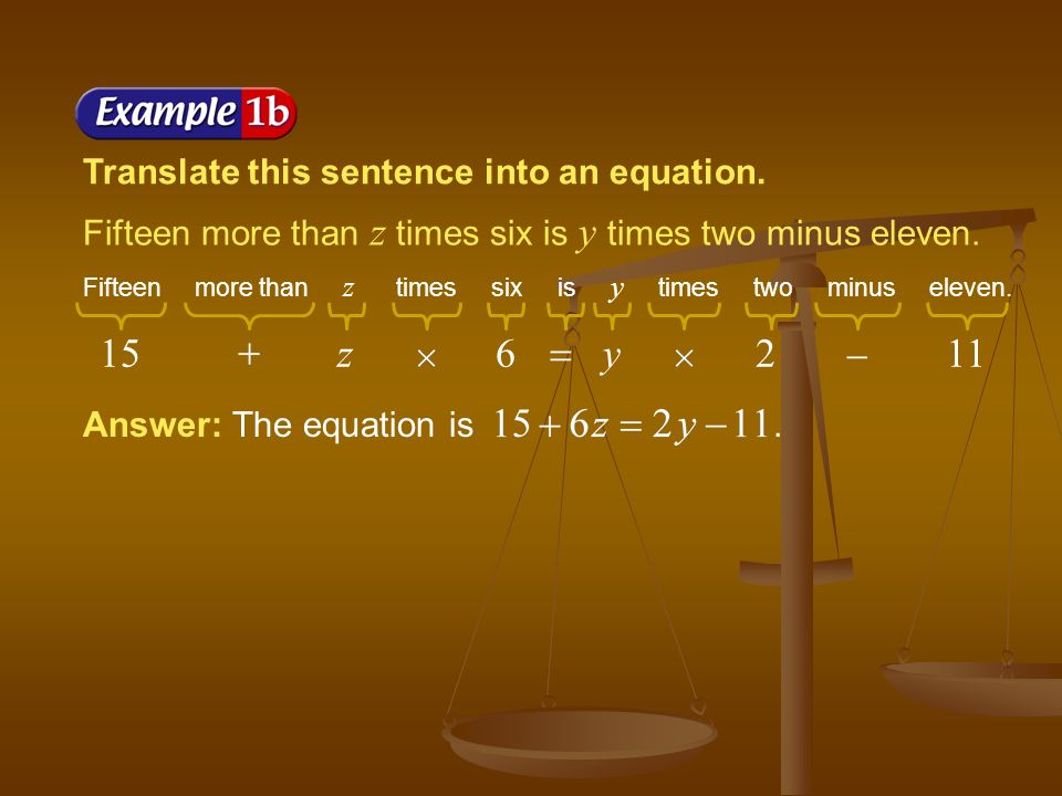 Translate this sentence into an equation. A number b divided by three is equal to six less than c.