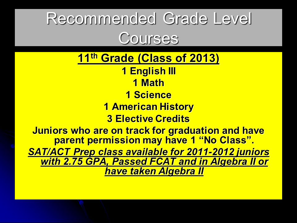Recommended Grade Level Courses 11 th Grade (Class of 2013) 1 English III 1 Math 1 Science 1 American History 3 Elective Credits Juniors who are on track for graduation and have parent permission may have 1 No Class.