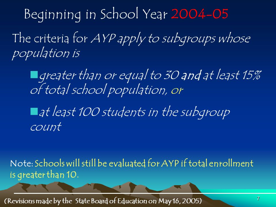 7 Beginning in School Year The criteria for AYP apply to subgroups whose population is greater than or equal to 30 and at least 15% of total school population, or at least 100 students in the subgroup count Note: Schools will still be evaluated for AYP if total enrollment is greater than 10.
