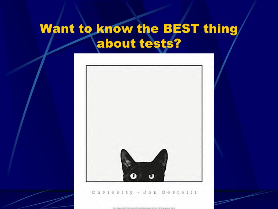 Want to know the BEST thing about tests