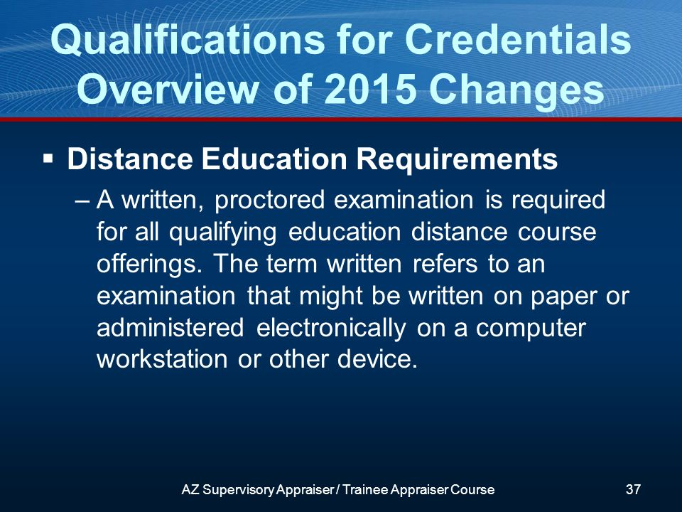 Distance Education Requirements –A written, proctored examination is required for all qualifying education distance course offerings.