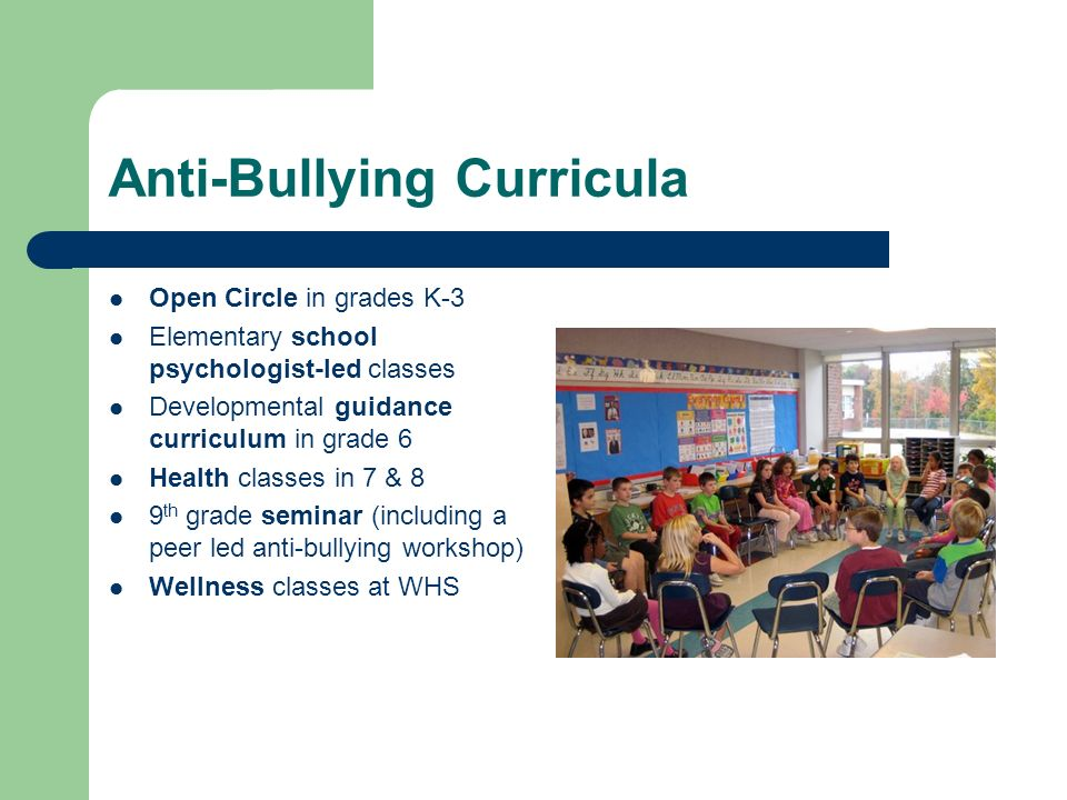 Anti-Bullying Curricula Open Circle in grades K-3 Elementary school psychologist-led classes Developmental guidance curriculum in grade 6 Health classes in 7 & 8 9 th grade seminar (including a peer led anti-bullying workshop) Wellness classes at WHS