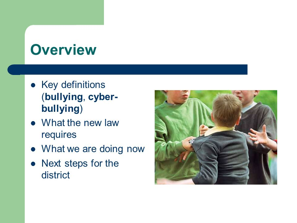 Overview Key definitions (bullying, cyber- bullying) What the new law requires What we are doing now Next steps for the district