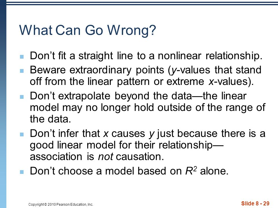 Copyright © 2010 Pearson Education, Inc. Slide 8 - 29 What Can Go Wrong.