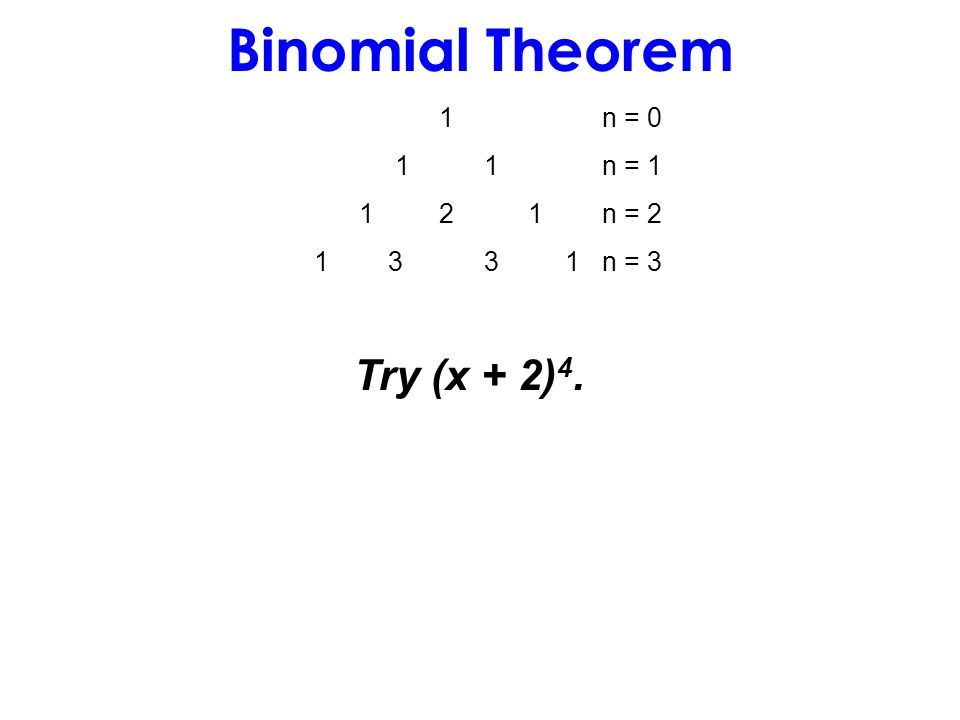 Binomial Theorem 1n = 0 1 1n = 1 1 2 1n = 2 1 3 3 1n = 3 Try (x + 2) 4.