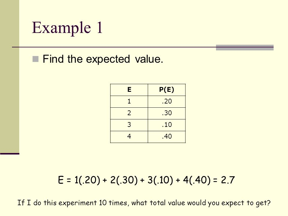 Example 1 Find the expected value.