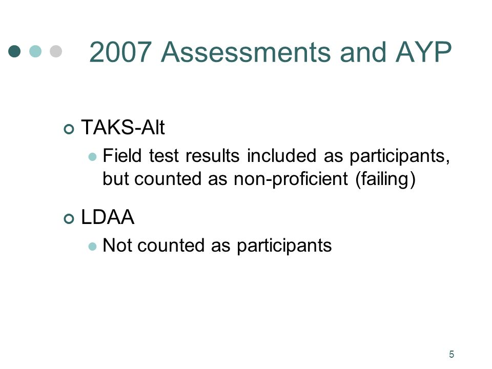 5 2007 Assessments and AYP TAKS-Alt Field test results included as participants, but counted as non-proficient (failing) LDAA Not counted as participants