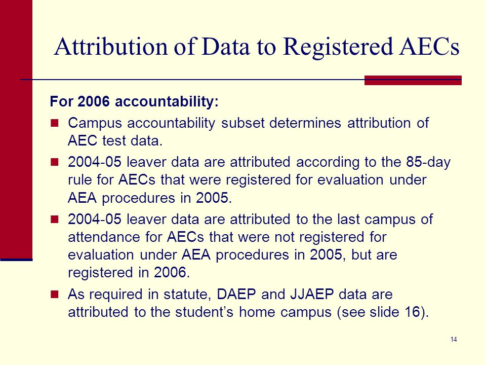 14 Attribution of Data to Registered AECs For 2006 accountability: Campus accountability subset determines attribution of AEC test data.