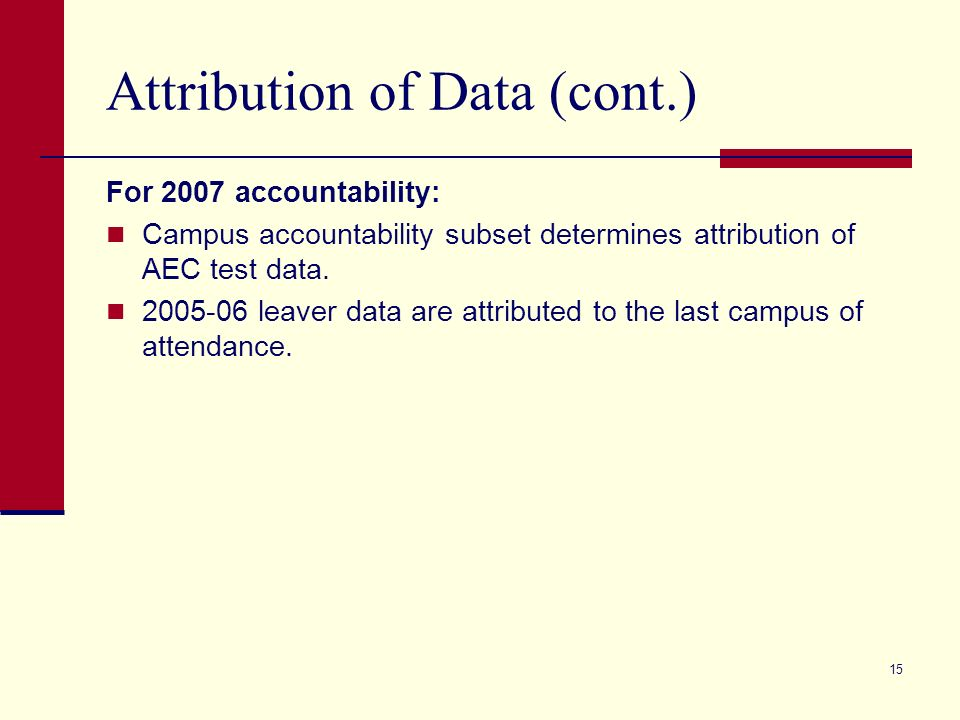 15 Attribution of Data (cont.) For 2007 accountability: Campus accountability subset determines attribution of AEC test data.