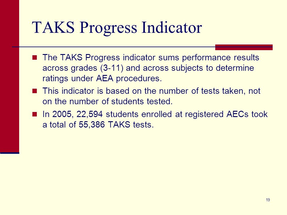 19 TAKS Progress Indicator The TAKS Progress indicator sums performance results across grades (3-11) and across subjects to determine ratings under AEA procedures.