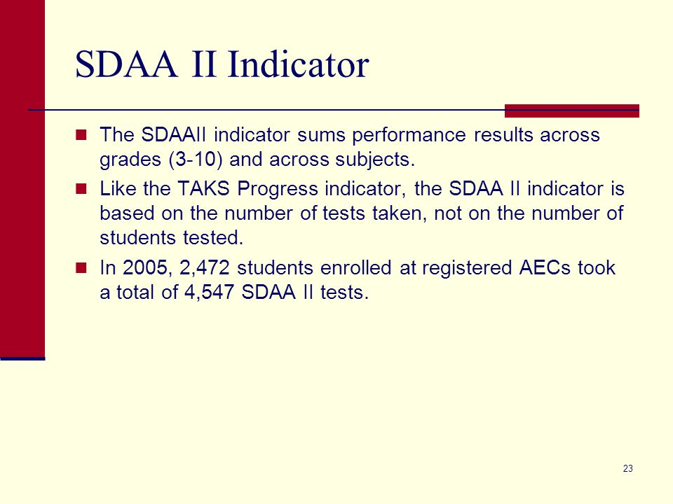 23 SDAA II Indicator The SDAAII indicator sums performance results across grades (3-10) and across subjects.