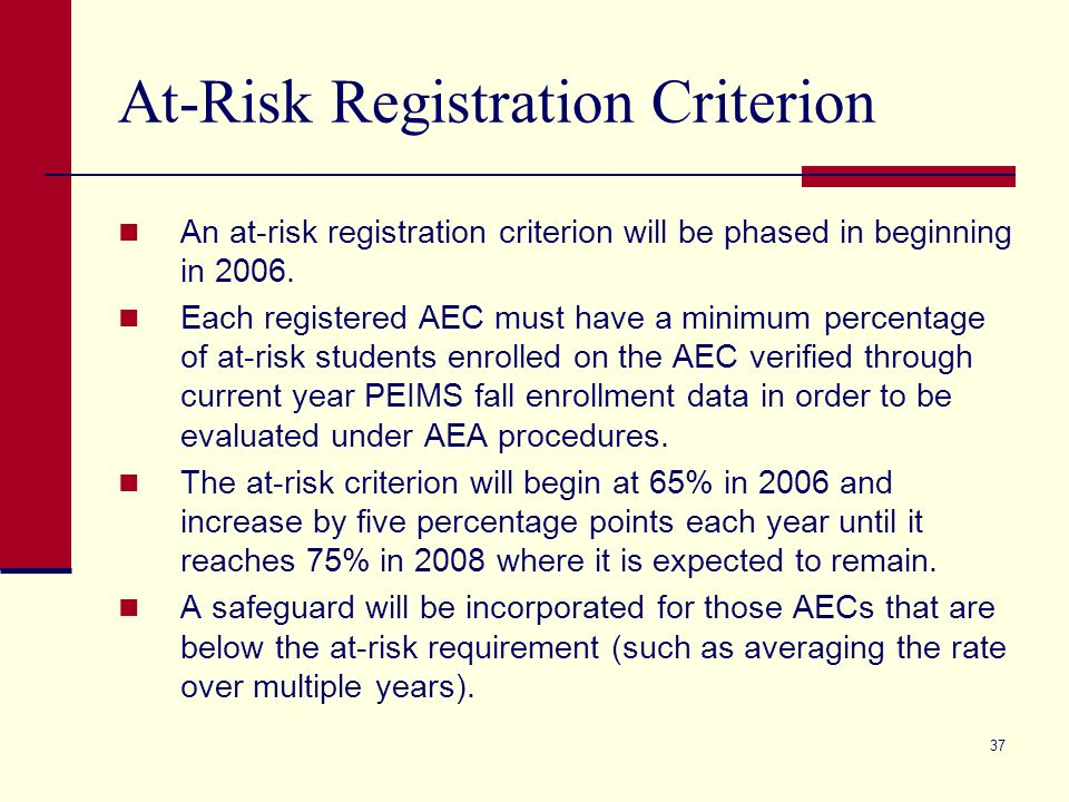 37 At-Risk Registration Criterion An at-risk registration criterion will be phased in beginning in 2006.