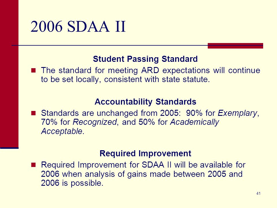 41 2006 SDAA II Student Passing Standard The standard for meeting ARD expectations will continue to be set locally, consistent with state statute.