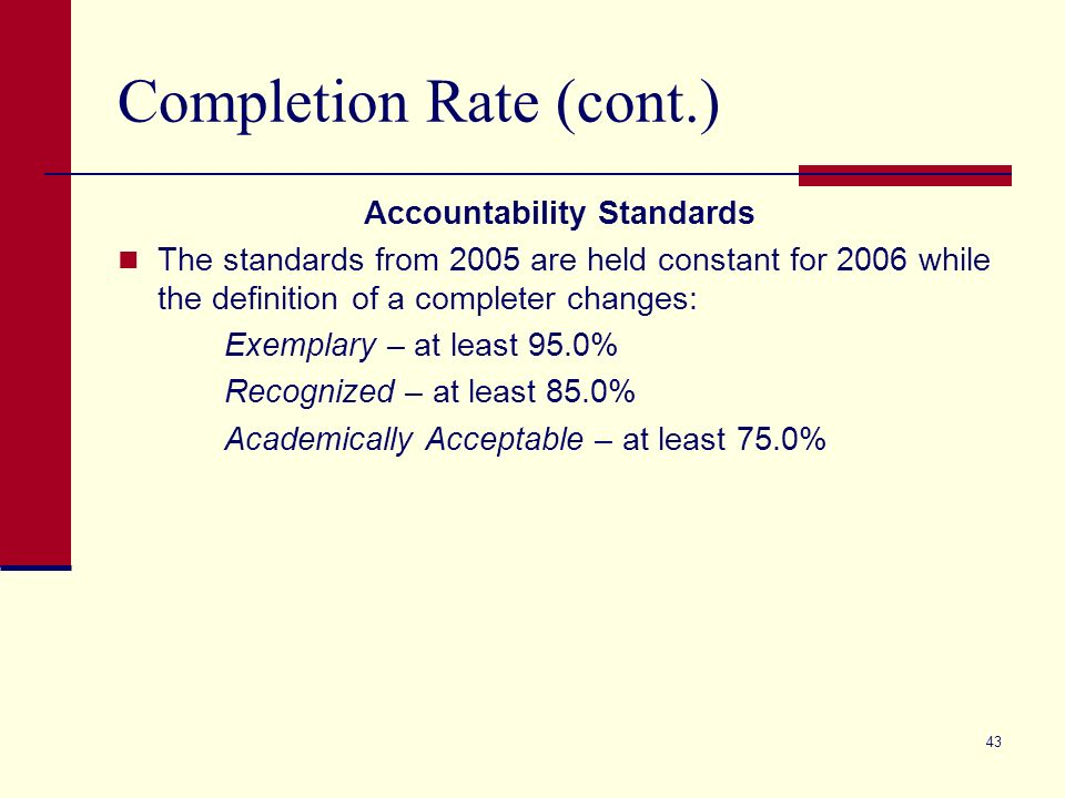 43 Completion Rate (cont.) Accountability Standards The standards from 2005 are held constant for 2006 while the definition of a completer changes: Exemplary – at least 95.0% Recognized – at least 85.0% Academically Acceptable – at least 75.0%