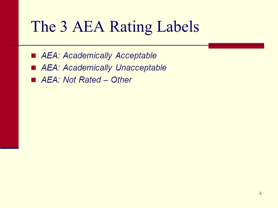 6 The 3 AEA Rating Labels AEA: Academically Acceptable AEA: Academically Unacceptable AEA: Not Rated – Other