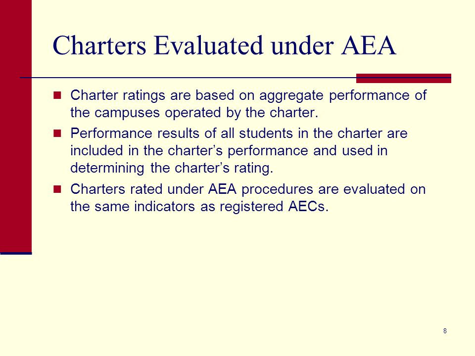 8 Charters Evaluated under AEA Charter ratings are based on aggregate performance of the campuses operated by the charter.