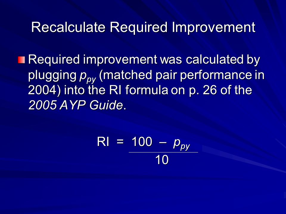 Recalculate Required Improvement Required improvement was calculated by plugging p py (matched pair performance in 2004) into the RI formula on p.