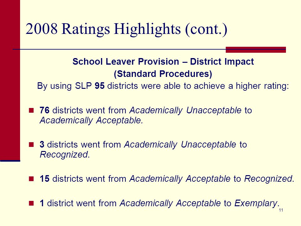 10 2008 Ratings Highlights (cont.) School Leaver Provision (SLP) – District Impact (Standard Procedures) 3 districts used the SLP for Dropout Rate only.