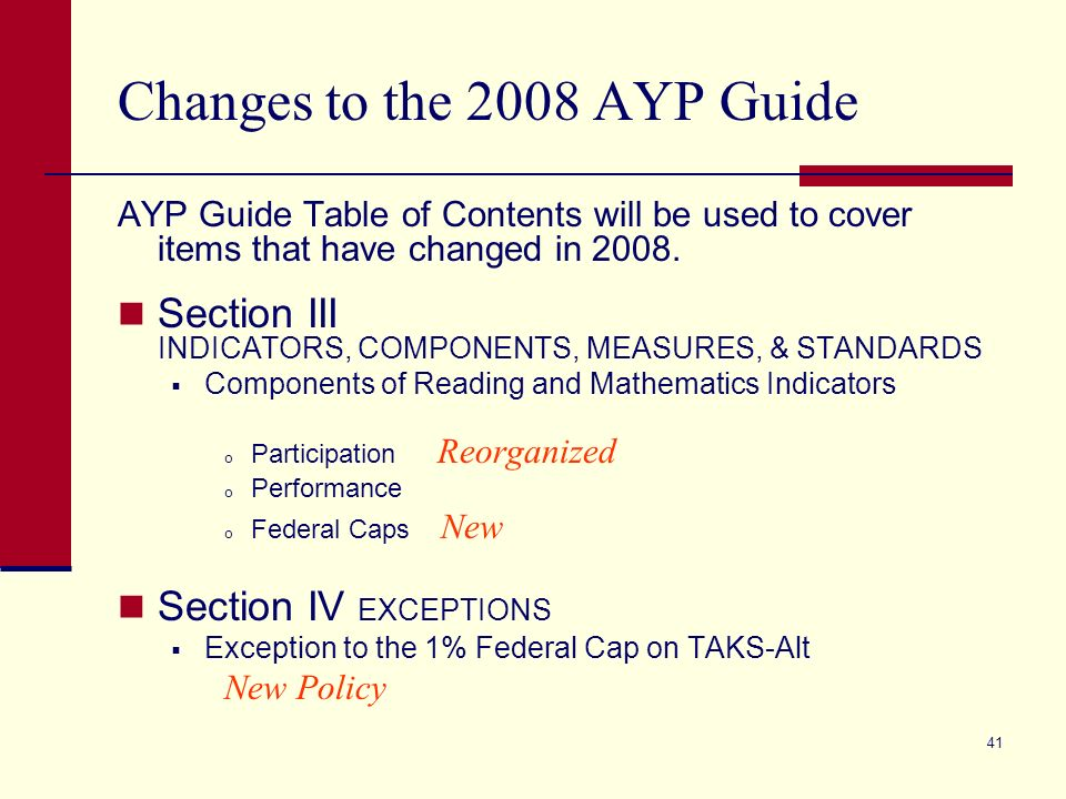 40 2008 AYP Timeline (cont.) October 17 th AYP Appeal Deadline No later than October 20 th Parental Notification by all Texas Districts of School Improvement Requirements.