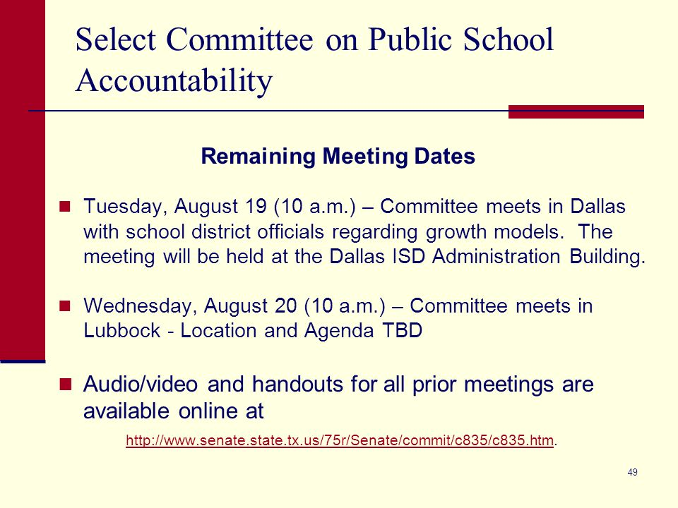 48 2009 Assessments used for State and Federal Accountability An attachment to the September 19, 2007, To The Administrator Addressed letter outlined the use of TAKS (Accommodated), TAKS- M, and TAKS-Alt in state and federal accountability for the 2007-08 school year.