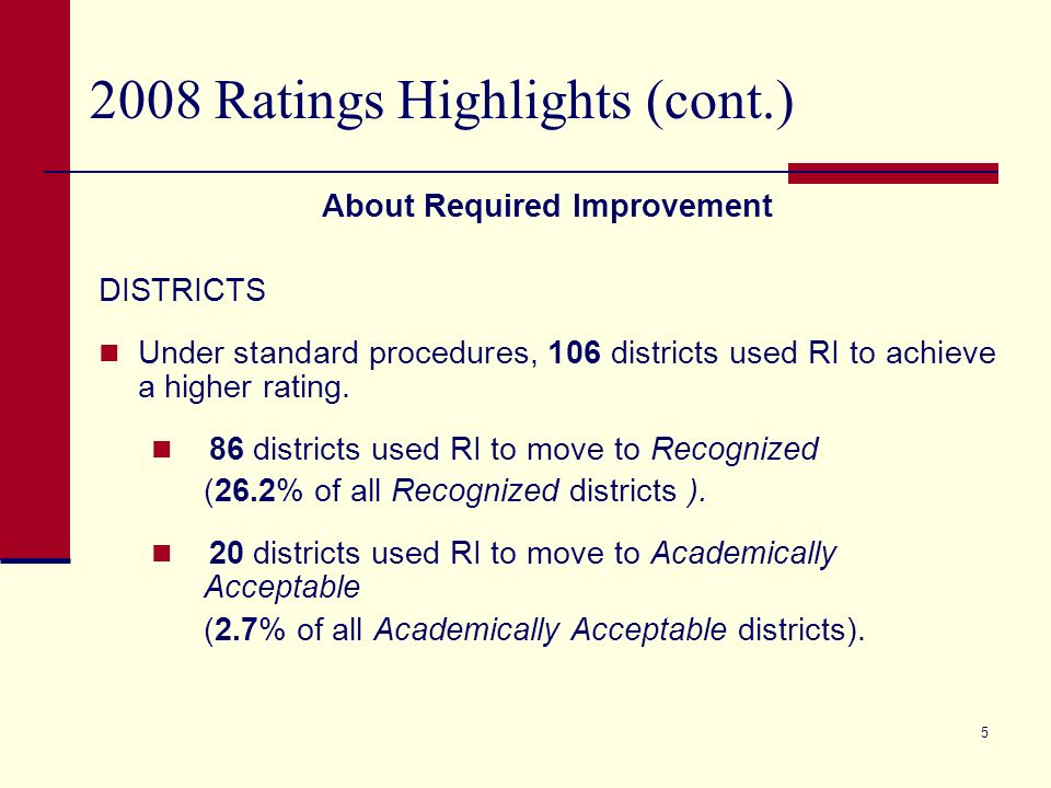 4 2008 Ratings Highlights (cont.) About Required Improvement CAMPUSES Under standard procedures, 521 campuses used RI to achieve a higher rating.