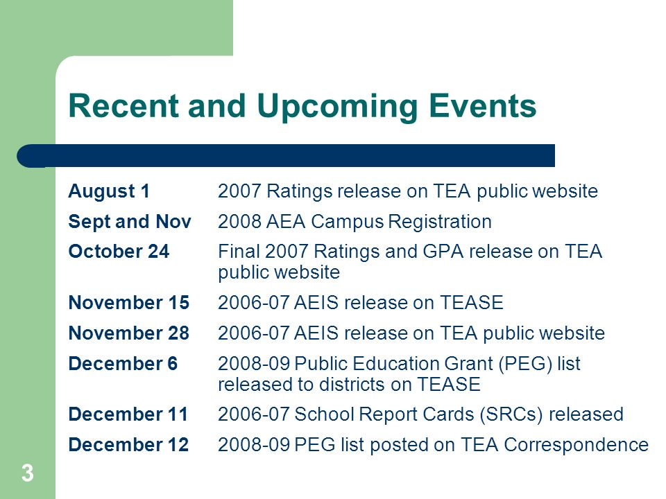 3 Recent and Upcoming Events August 12007 Ratings release on TEA public website Sept and Nov2008 AEA Campus Registration October 24Final 2007 Ratings and GPA release on TEA public website November 152006-07 AEIS release on TEASE November 282006-07 AEIS release on TEA public website December 6 2008-09 Public Education Grant (PEG) list released to districts on TEASE December 112006-07 School Report Cards (SRCs) released December 12 2008-09 PEG list posted on TEA Correspondence