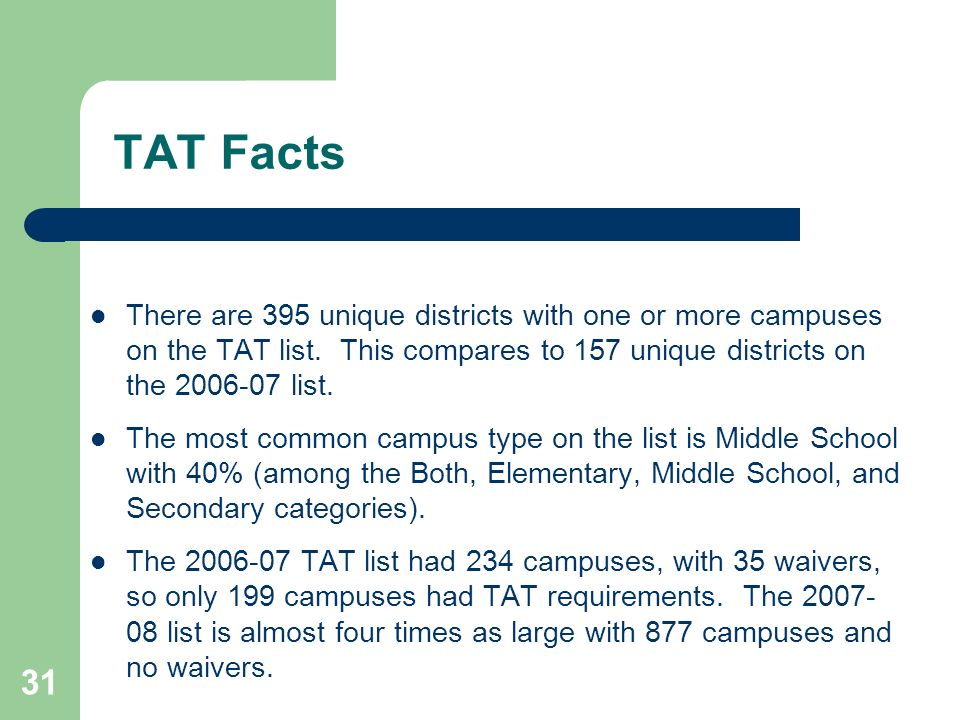 31 TAT Facts There are 395 unique districts with one or more campuses on the TAT list.