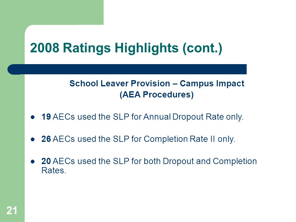 21 2008 Ratings Highlights (cont.) School Leaver Provision – Campus Impact (AEA Procedures) 19 AECs used the SLP for Annual Dropout Rate only.