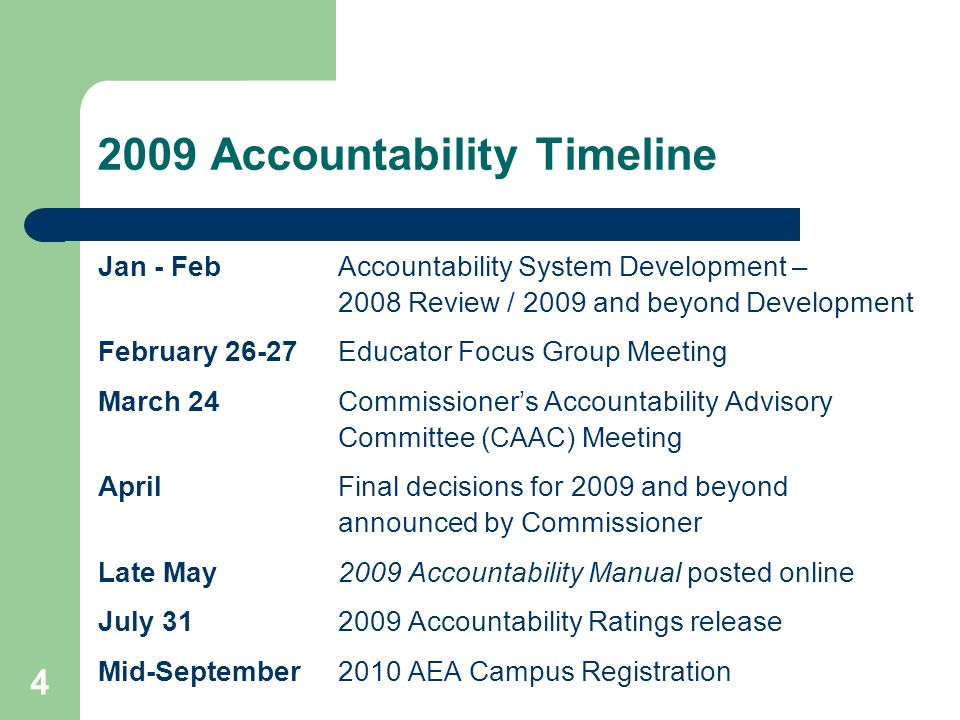 4 2009 Accountability Timeline Jan - Feb Accountability System Development – 2008 Review / 2009 and beyond Development February 26-27Educator Focus Group Meeting March 24Commissioners Accountability Advisory Committee ( CAAC ) Meeting AprilFinal decisions for 2009 and beyond announced by Commissioner Late May2009 Accountability Manual posted online July 312009 Accountability Ratings release Mid-September2010 AEA Campus Registration