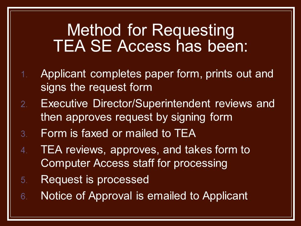 Method for Requesting TEA SE Access has been: 1.