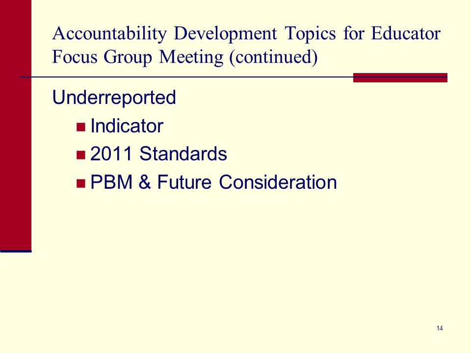 Accountability Development Topics for Educator Focus Group Meeting (continued) Underreported Indicator 2011 Standards PBM & Future Consideration 14