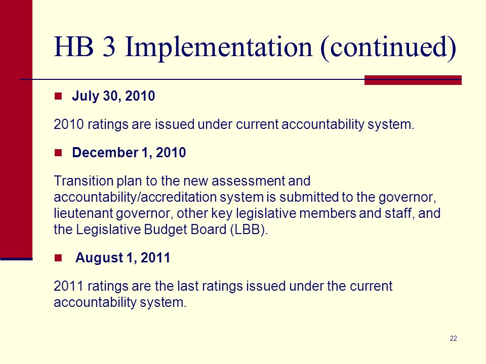 HB 3 Implementation (continued) July 30, 2010 2010 ratings are issued under current accountability system.
