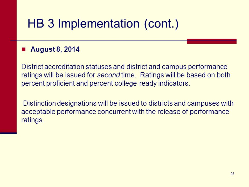 HB 3 Implementation (cont.) August 8, 2014 District accreditation statuses and district and campus performance ratings will be issued for second time.