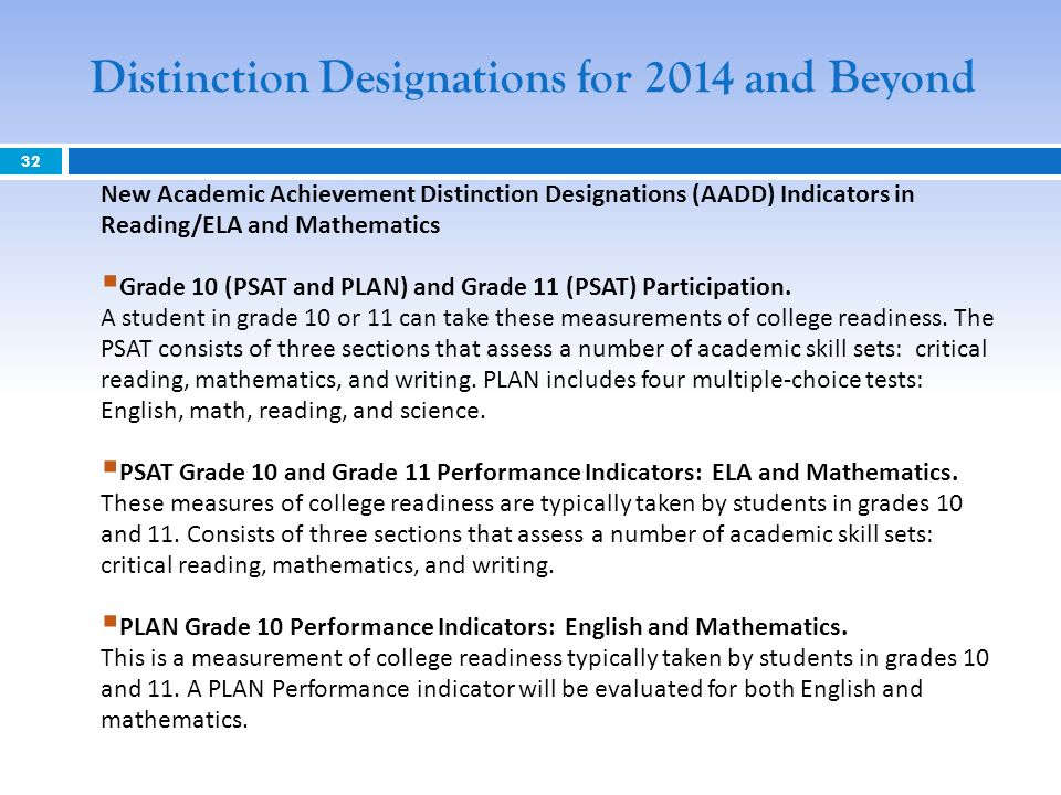 32 Distinction Designations for 2014 and Beyond New Academic Achievement Distinction Designations (AADD) Indicators in Reading/ELA and Mathematics Grade 10 (PSAT and PLAN) and Grade 11 (PSAT) Participation.