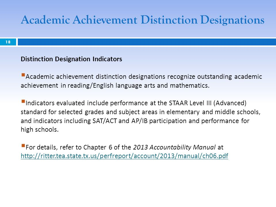 18 Distinction Designation Indicators Academic achievement distinction designations recognize outstanding academic achievement in reading/English language arts and mathematics.